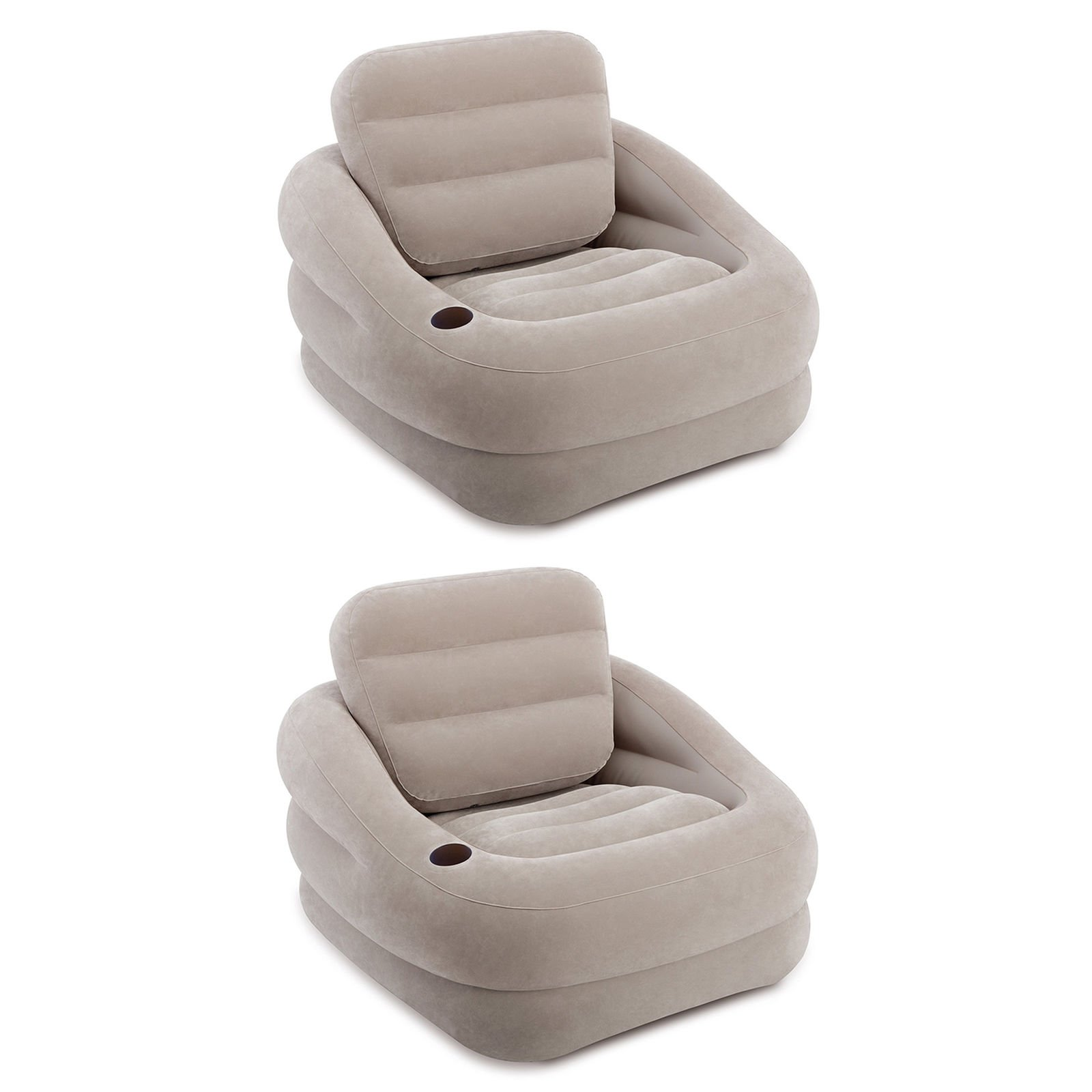 Inflatable Khaki Accent Chair with Cup Holder and Water Base (2 Pack) With Ebook