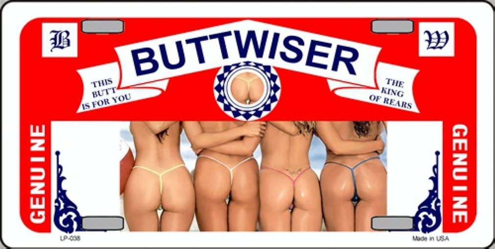Smart Blonde LP-038 Buttwiser Beer Girls Novelty Metal License Plate