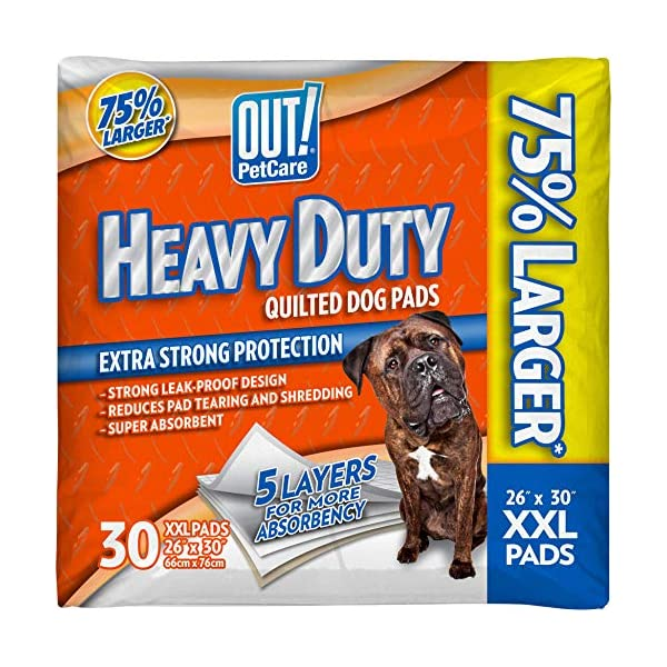 OUT! Heavy Duty XXL Dog Pads | Absorbent Pet Training and Puppy Pads | 30 Pads | 26 x 30 Inches