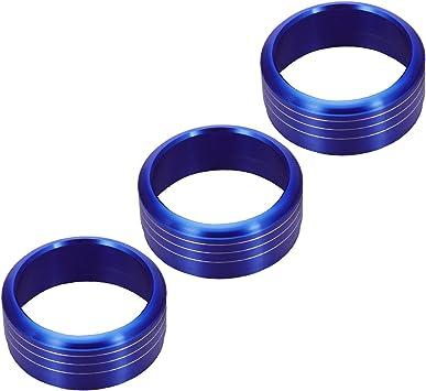 Blue VORCOOL 3pcs Red Anodized Aluminum AC Climate Control Knob Ring Covers for Subaru WRX STI Impreza Forester XV Crosstrek