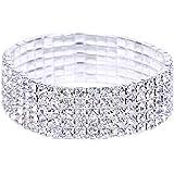 EOZY Women Bridesmaid Rhinestone Silver Plated Adjustable Bracelet Bangle Jewelry