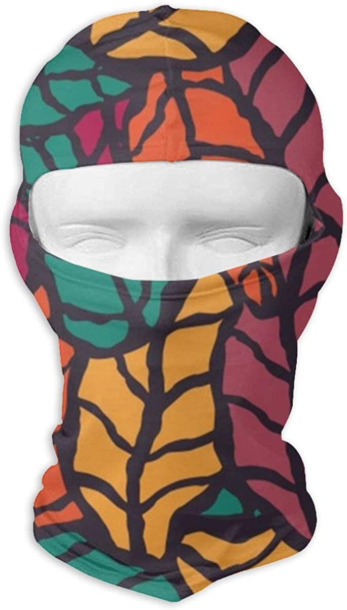 CAClifestyle Hand-Drawn Colorful Leaves Unisex Windproof Balaclavas Full Face Mask Hood