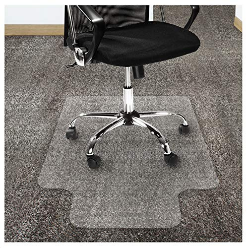 Office Marshal Polycarbonate Chair Mat with Lip for High Pile Carpet Floors, 36