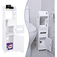 Small Bathroom Storage, Toilet Paper Storage Corner Floor Cabinet with Shelves and Doors, Bathroom Storage Organizer, Furniture Corner Shelf for Book, Toilet Paper, Shampoo, Botany (26.8Wx6.3Lx6.3D)