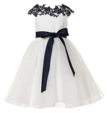 7b3b8d2906 thstylee Navy Blue Lace Tulle Flower Girl Dress Girls Juniors For Wedding  Dresses Size US 6M  Amazon.co.uk  Clothing