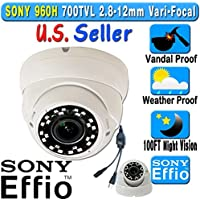 LEXA 700TVL Sony Effio E Super HAD CCDll 960H 100FT HD Night Vision 2.8-12mm Vari-focal lens Vandal Weather Proof In/Outdoor CCTV Dome Camera Black & White Night Vision Color OSD