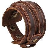 W-top Pulsera Brazalete Cuero Punky Manguito para Hombre, Ancho Cinturón del botón pulsera hecho a mano de la joyería (marrón)