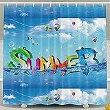 BINGO FLAG Funny Fabric Shower Curtain Summer Sea Waterproof Bathroom Decor With Hooks 60 X 72 Inch