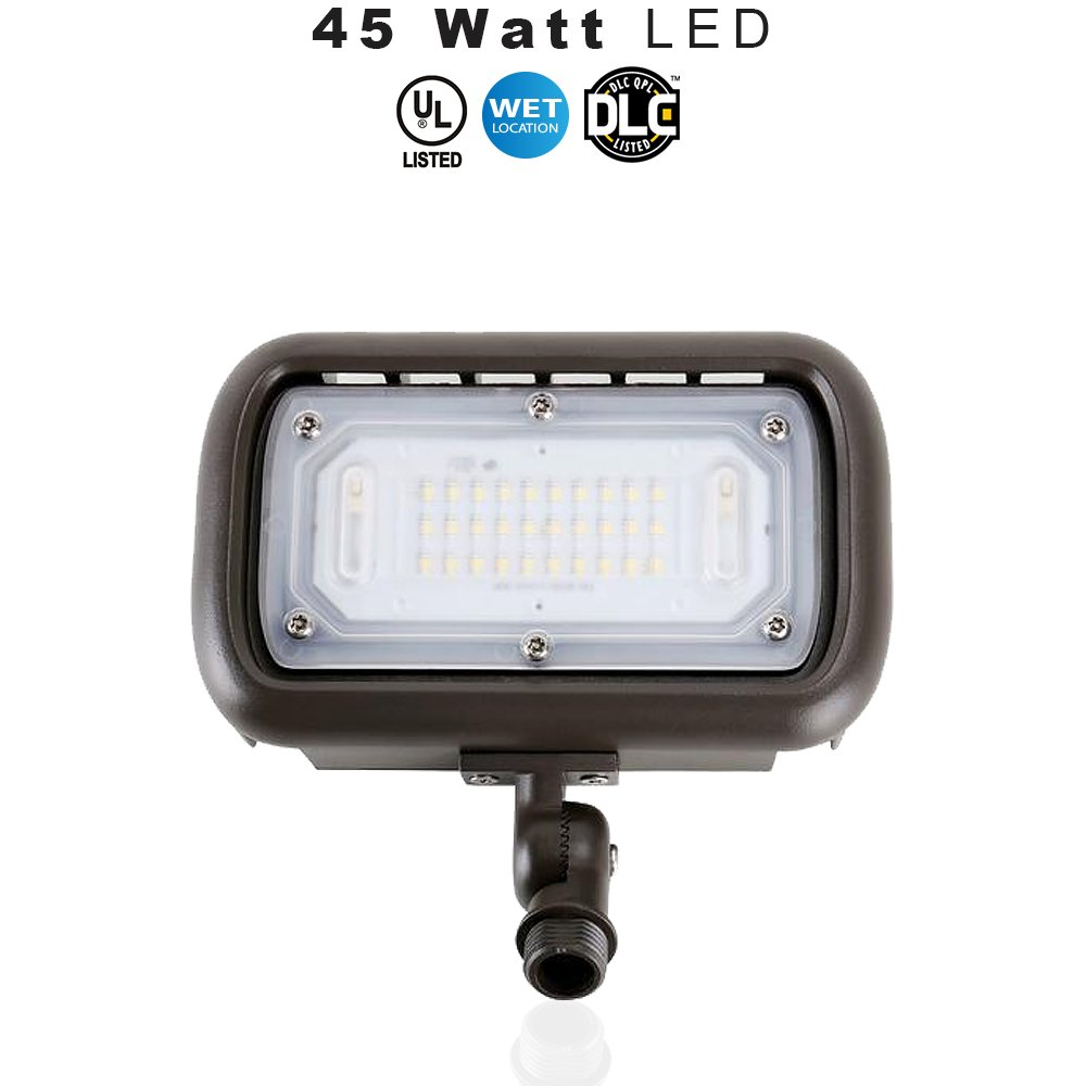 LED Outdoor Security Flood Light, Waterproof, 45 Watt (400W Equivalent) 5400 Lumens, 5000K Daylight White, UL & DLC – Knuckle Mount – 5 Year Warranty (45 Watt 1 pack)
