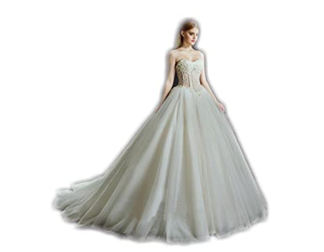 WD-001 Elegant soft tulle ball gown wedding dress with sweetheart ...