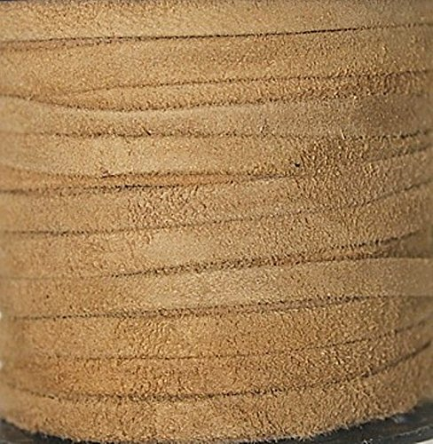 Genuine Suede Leather - 4 Mm Wide X 1 Mm Thick Fold Over (Folded & Pasted) - Various Colors - Packing of 1 Yard, 5 Yards, 10 Yards in Hank and 25 Yards in Spool (5 Yards, Camel (824))
