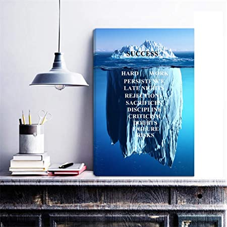 HOMEOART Inspirational Quotes Wall Art Success Quote Iceberg Picture Canvas Artwork Motivational Office Decor 16 x24