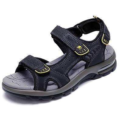 b13cb5ae86 CAMEL Men's Beach Sandals Comfy Lightweight Sandals Genuine Leather Sport  Casual Elastic Slippers(Black,