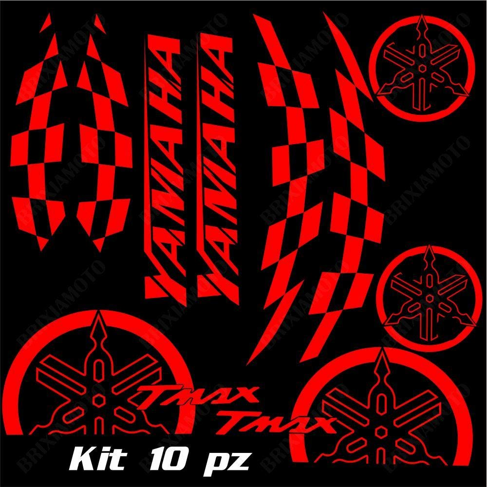SET COMPLETO ADESIVI CARENA ROSSO FITS YAMAHA T-MAX 500 01-07