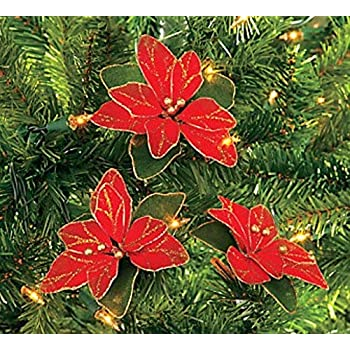 pack of 12 red glitter poinsettia christmas tree ornaments - Poinsettia Christmas Decorations