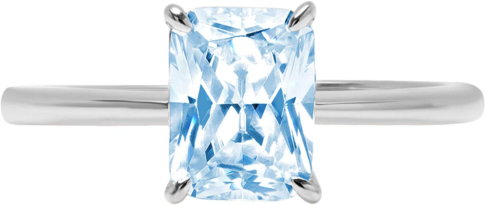 1.14 Carat Radiant Cut Simulated Diamond Art Deco Solitaire Wedding Engagement Bridal Ring Round CZ 925 Sterling Silver