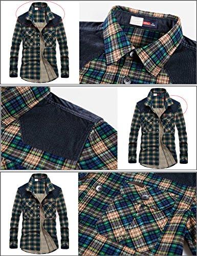 Cuadros De Botón Fleece A Franela nicht Chaqueta Sherp Hombres Camisa Piel Blau Gefüttert Manga Mr stream Casual Forrado Larga Caliente Xwgz81gq