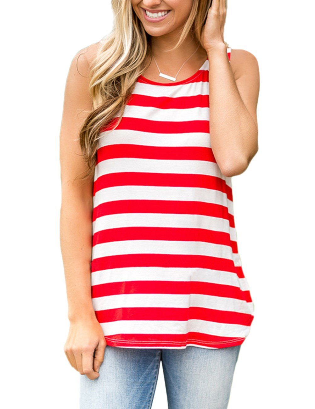 YOUCOO Women T-Shirt Sleeveless Summer Tank Tops Red Striped Blouse