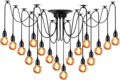 Trade Winds Lighting TW021153ORB Vintage Hanging Loft Cage Styled Pendant with Seeded Glass, 100 Watts, in Oil Rubbed Bronze