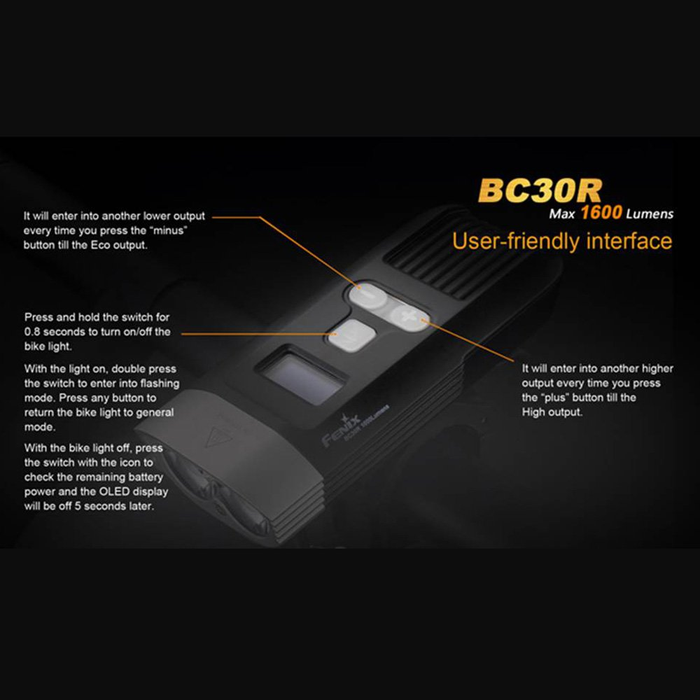 Fenix BC30R USB rechargeable bike light 1600 lumens OLED display screen 5200mah battery by Unknown (Image #1)