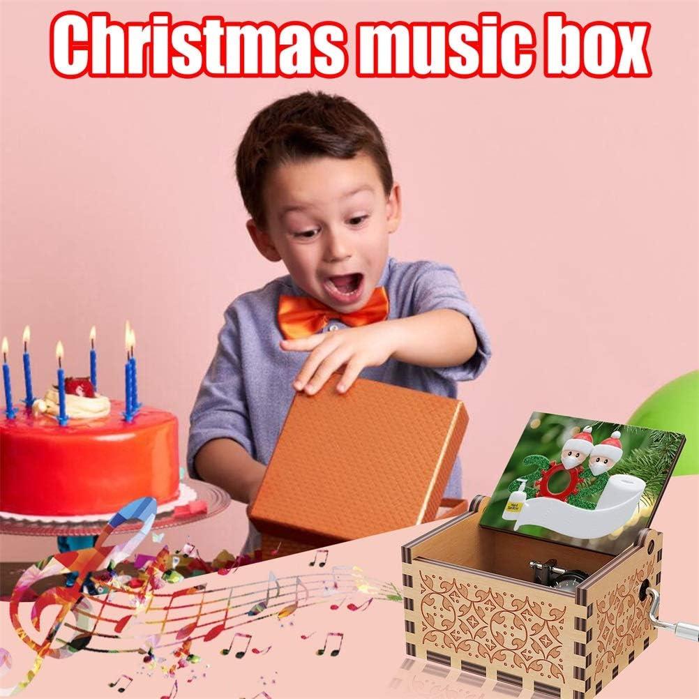decorazione per la casa con elementi di Natale Carillon natalizio in legno con manovella 6,4 x 5,2 x 4,2 cm Tixiyu