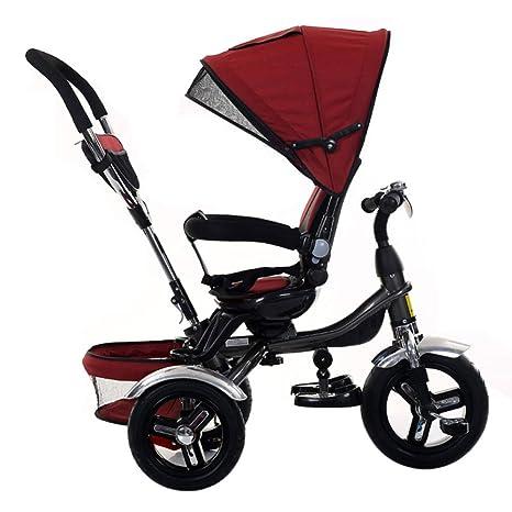 TH Triciclo Carro De Bebe Triciclo para Niños 4 En 1 con Manija De Empuje Removible