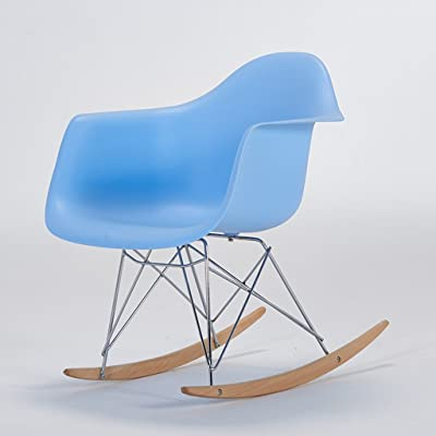 CJH Balcony Rocking Chair Adult Recliner Leisure Chair Eames Back Rocking Chair Easy Chair Lazy Chair (Color : Blue)