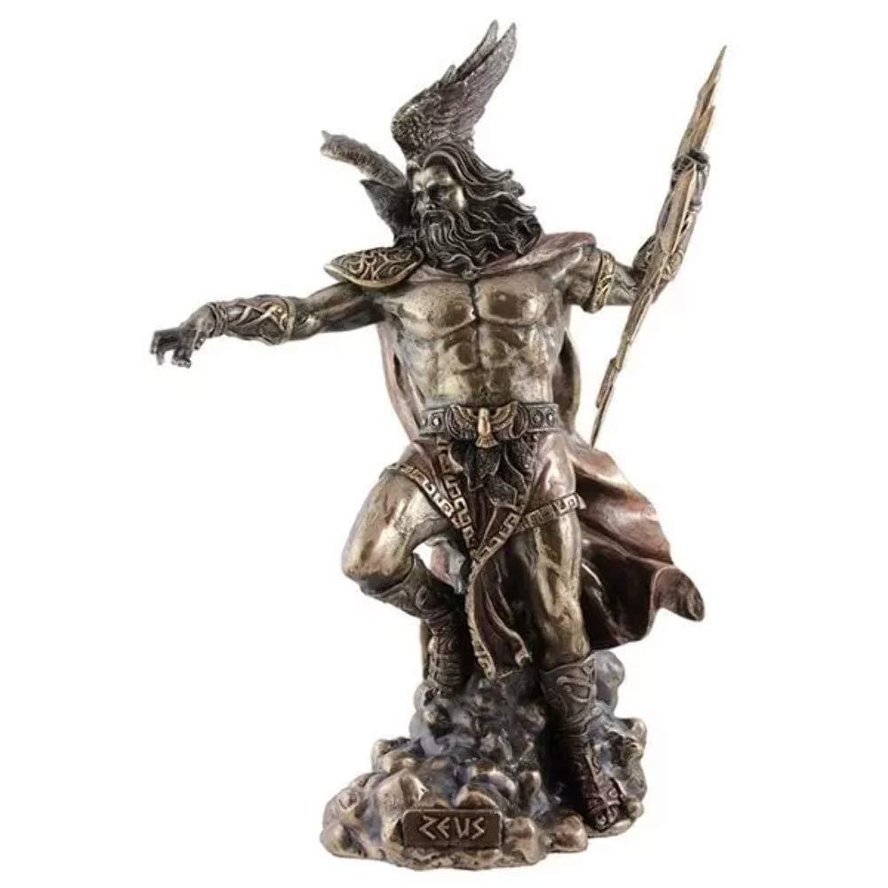 Zeus Greek God Holding Thunderbolt Statue with Eagle