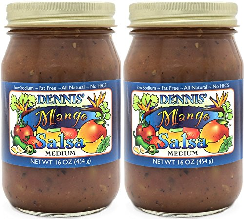 (All-Natural Mango Salsa by Dennis' Gourmet | A Fresh, Hearty Restaurant Salsa that is Low Sugar, Low Cal, Low Carb, Low Sodium, and Gluten Free! Includes (2) Large 16 oz Jars)