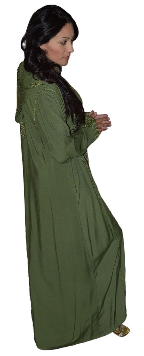 Moroccan Caftans Women Hand Made Djellaba Embroidered Size Extra Large Green by Moroccan Caftans (Image #5)