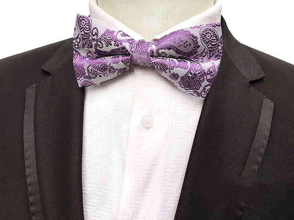 MOHSLEE Men Purple Paisley Pre-Tie Bowtie Wedding Self Bow Tie Pocket Square Set