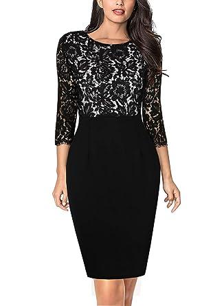 8974fb0f3f7c HiLady Women's Lace Patchwork Long Sleeve Short Mini Evening Party Dress  (S, HL6026_Black) at Amazon Women's Clothing store:
