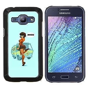 EJOOY---Cubierta de la caja de protección para la piel dura ** Samsung Galaxy J1 J100 ** --sexy pin up cartel mujer chica pelirroja