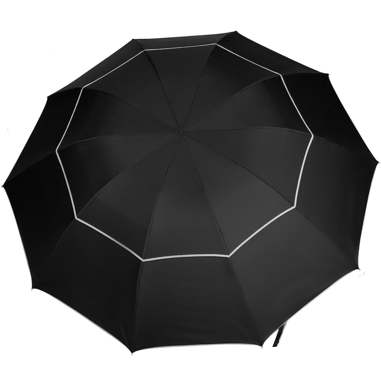 63 Inch Extra Large Golf Umbrella, Folding Travel Umbrella with Reflective Effect, Wind Vented Double Canopy   B077P1HZ48
