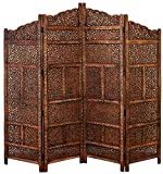 """indian room decor Deco 79 Traditional Wood Multi-Panel Room Divider, 72"""" H x 80"""" L, Textured Brown Finish"""