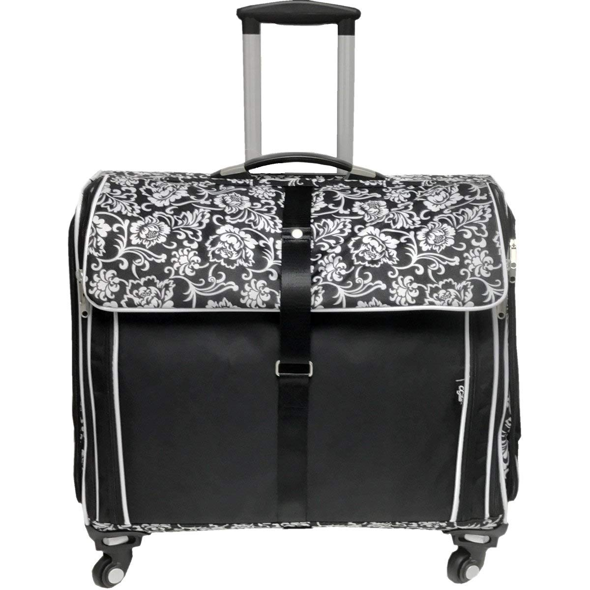 Cgull Ultimate Craft Machine & Supplies Trolley Canvas Tote-Black With White Damask Florals 381433