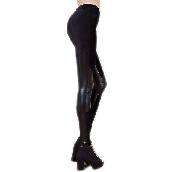 glänzende Kunst-Leder Leggin Taille Rubberfashion Kunstleder Leggings