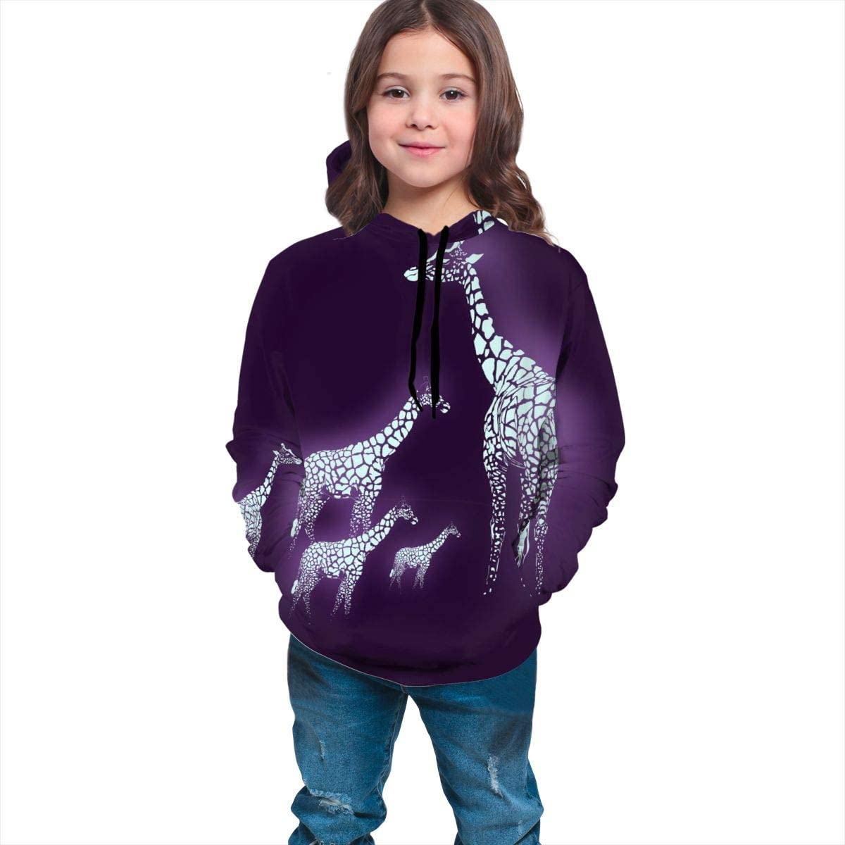 Light Giraffe Family Unisex Pullover Teens Hoodie Hooded Sweatshirt Colorful