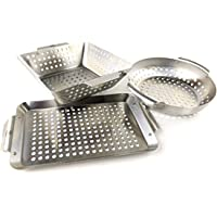 Yukon Glory Set of 3 Professional Barbecue Grilling Baskets Heavy Duty Stainless Steel BBQ Basket, Great Gift for Grillers