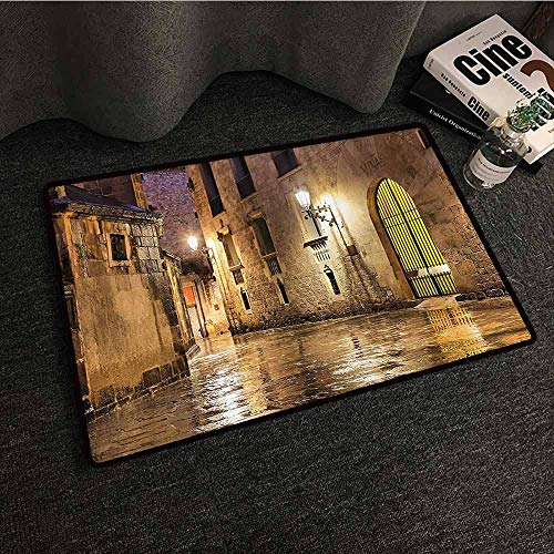 Gothic Decor Interior Door mat Gothic Ancient Stone Quarter of Barcelona Spain Renaissance Heritage Gothic Night Street Photo Easy to Clean Carpet W24 xL35 Cream