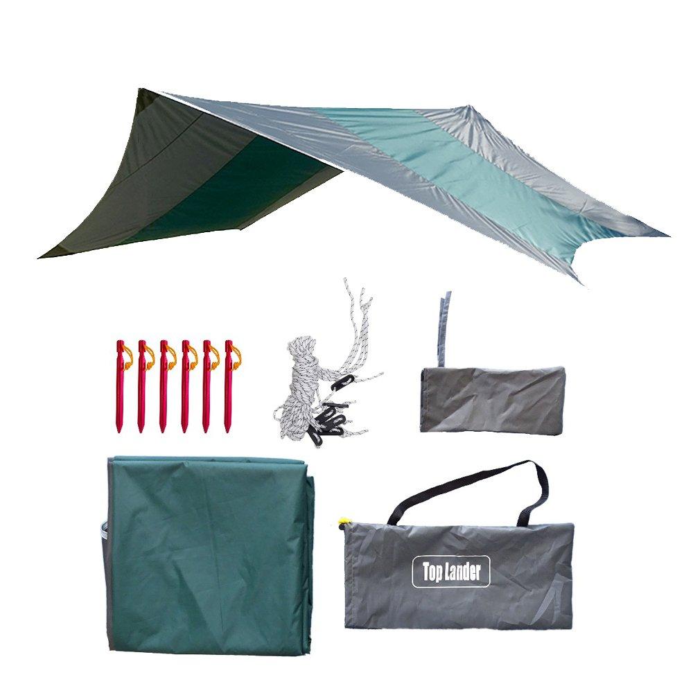 Impermeable Camping Hamaca Rain Fly Ultralarge Carpa Tarp Cover Ligero Lágrima Resistente Portátil Hexagonal Tarpaul Sun Shelter Toldo con clavijas y cuerdas Top Lander