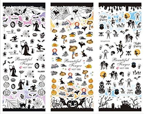 AMA(TM) 1 Big Sheet Halloween Pumpkin Bat Ghost Witch Nail Art Stickers Water Transfer Decals (B)