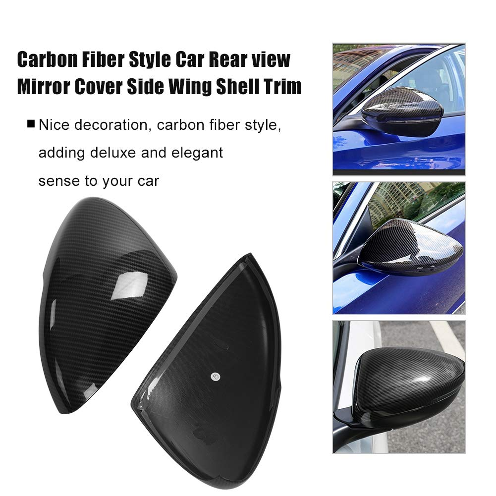 2 Pcs Rear View Mirror Housing Cap Carbon Fiber Style Side Wing Shell Trim ABS Plastic Exterior Mirror Protector for Honda Accord 2018 Cuque Rearview Mirror Cover