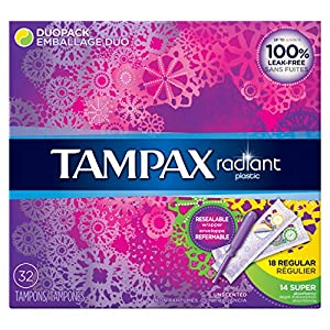 Tampax Radiant Plastic, Duopack, Unscented Tampons, 32 Count