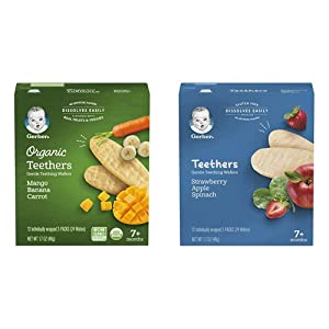 Gerber Organic Teethers Gentle Teething Wafers - Mango Banana Carrot, 6 Count & Teethers Gentle Teething Wafers - Strawberry Apple Spinach, 6 Count