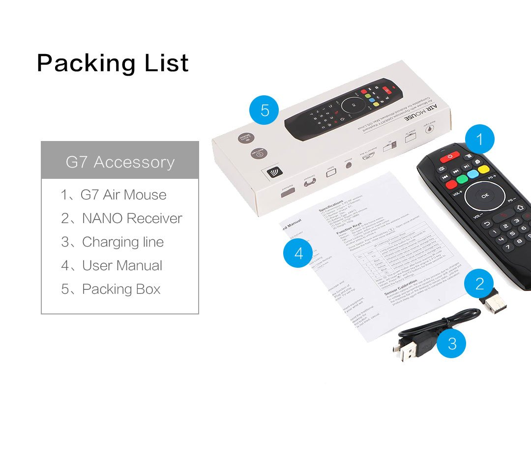 Air Mouse Remote, PTVDISPLAY 2.4G IR Learning Mouse Remote Control with Keyboard for Android TV Box Smart Projector MAC Pad HTPC iOS PC Windows Computer (Black) by PTVDISPLAY (Image #7)