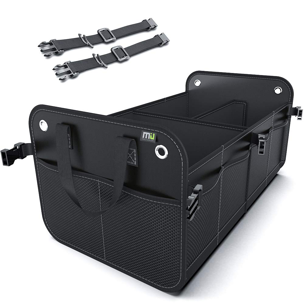 MIU COLOR Foldable Car Trunk Organizer Washable Automotive Waterproof Storage Box Suitable for SUV (Black with 2 strap) by MIU COLOR