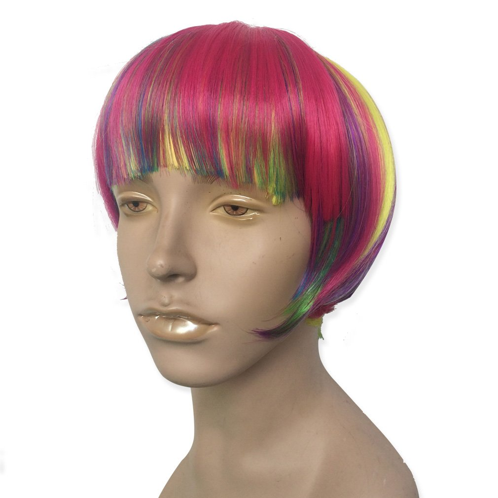 Short Rainbow Wig Cosplay Wigs Heat Resistant Synthetic Fiber BOB Hairpiece , Free Wig Cap by Namecute (Image #3)