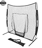 KingSports Collapsible Baseball Net/Softball Net, 7 x 7 Large Mouth Outdoor Sports Net with Bow Net Frame & Carry Bag