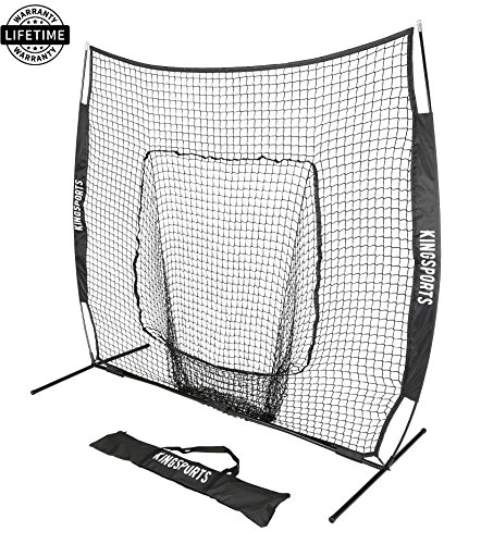 KingSports Collapsible Baseball Net/Softball Net, 7 x 7 Large Mouth Outdoor Sports Net with Bow Net Frame & Carry Bag by KingSports